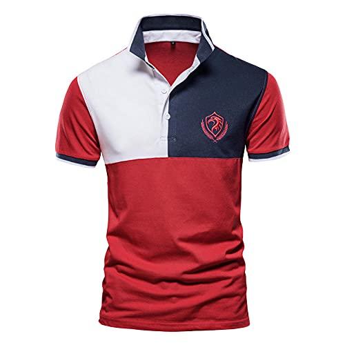 Camiseta De Manga Corta T-Shirt Polos Hombre Camisas Casuales De Manga Corta para Negocios Polo De Verano-Pl33-Red_Us_Size_XL_80-90_Kg