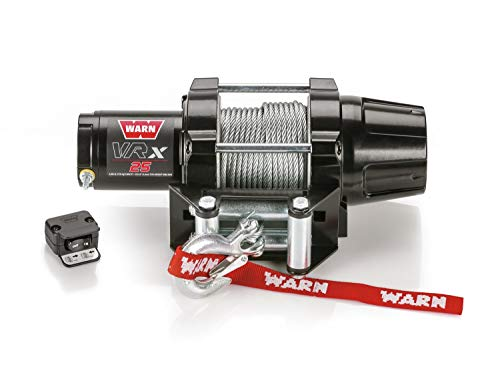"WARN 101025 VRX 25 Powersports Winch with Handlebar Mounted Switch and Steel Cable Wire Rope: 3/16"" Diameter x 50' Length, 1.25 Ton (2,500 lb) Capacity"