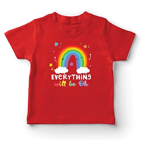 lepni.me Camiseta para Niño/Niña Todo Estará Bien Andrà Tutto Bene Arcoiris de la Esperanza (1-2 Years Rojo Multicolor)