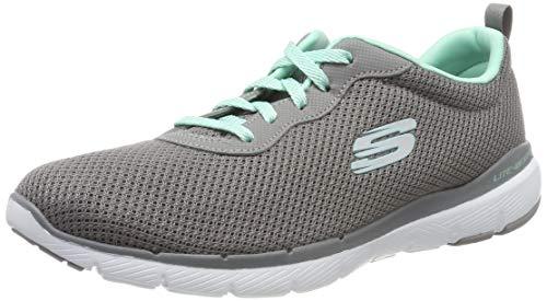 Skechers Damen Flex Appeal 3.0-First Insight Sneaker, Grau (Gray Mesh/Mint Trim Gymn), 35.5 EU