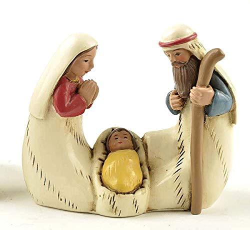 LKXZYX 2,56 Pollici Statua Sacra Famiglia Presepe Statuetta Decorazione da Tavolo Figura Gesù Bambino Maria