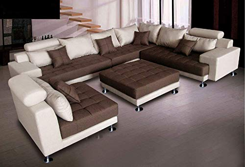 5pc Multifunction 2-Tone Linen Fabric Big Sectional Sofa S150RNE