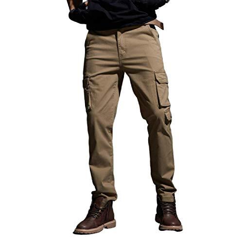 Hombre Pantalones Cargo Pernera Recta Delgado Color Liso Multibolsillos Al Aire Libre Pantalones Casuales para Viajar, Senderismo, Camping 32