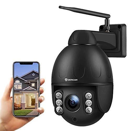 Dericam IP Kamera Outdoor, Überwachungskamera,WLAN Kamera,PTZ Kamera 4X Optische, Autofokus, 30m Nachtsicht, Fester Betrachtungswinkel 90 Grad, Externer SD Kartensteckplatz, Wetterfest,S2C