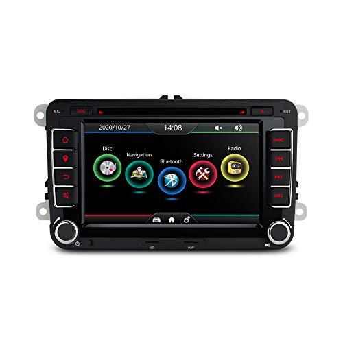 XTRONS Radio estéreo, DVD, GPS para coche, doble DIN, pantalla táctil HD de 7', doble CANbus, función de espejo, para VW, Skoda, Seat, Golf EOS