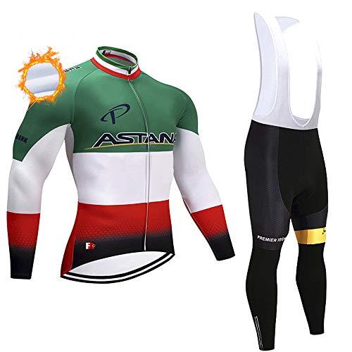 Completo da Bici MTB con Cerniera Completa, Abbigliamento Caldo, Set da Ciclismo Invernale a Manica Lunga