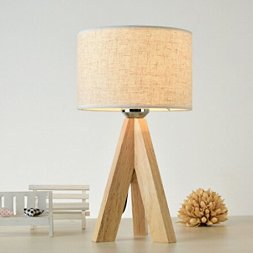Lampe de bureau minimaliste moderne Lampe en bois Lampe de chevet Lampe de chevet Lampe de salon Lampe de lecture Linge noir Lampe de table Noir Couleur de lin (Color : Linen color-25 * 47cm)