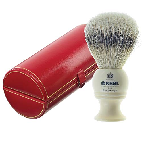 of shave brushes dec 2021 theres one clear winner Kent BK4 Shaving Brush, Handcrafted Silver Tip Badger Bristle and Mock Ivory Base Shave Brush, for Shave Cream and Shaving Soap for a Perfect Lather, Kent Luxury Shaving Since 1777. Made in England