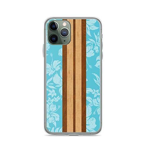 Phone Case Sunset Beach Hawaiian Faux Koa Wood Surfboard - Aqua Compatible with iPhone 6 6s 7 8 X XS XR 11 Pro Max SE 2020 Samsung Galaxy Drop Funny