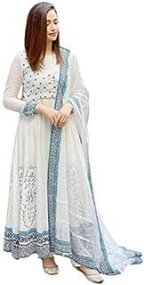 Ganakshi Women's Designer Rayon Hand Block Printed White Color Anarkali Kurti with Dupatta Set for Womens and Girls