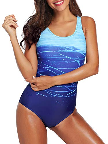 Women's One Piece Swimsuits for Women Athletic Training Swimsuits Swimwear Racerback Bathing Suits for Women A Blue Small (fits Like US 2-4)