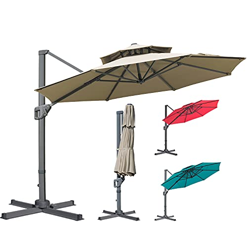 LKINBO 11FT Cantilever Patio Umbrella Outdoor Double Top...
