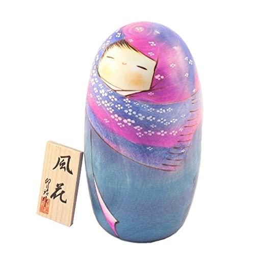 Muñeca Kokeshi japonesa auténtica y tradicional – Diseño Fuka – Hecho a mano y fabricado en Japón