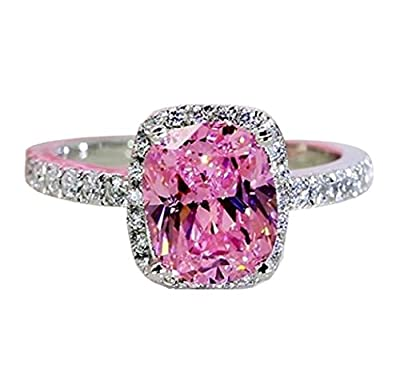 Qiaoying Ring 18k White Gold Gp Pink Austria Swarovski Crystal Lady Bridal Wedding Engagement (6)