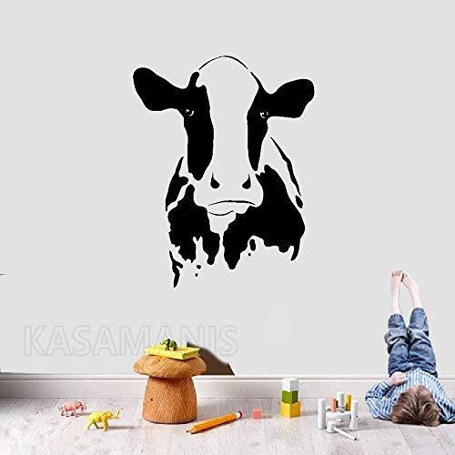 Wandaufkleber Innendekoration Kunst Wandbild Niedlicher Stierkopf Wandkunst Aufkleber Nutztier Kuh Haushalt Kühlschrank Kühlschrank Bauernhaus Pastoralaufkleber 53X42Cm