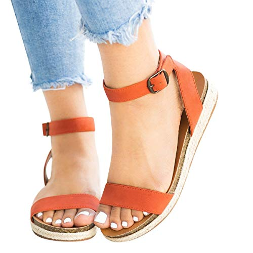 Find Bargain Women's Cute Open Toes One Band Ankle Strap Flatform Summer Woven Flat Sandals New (Ora...