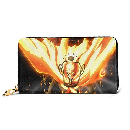 Anime Naruto Uzumaki Naruto Cartera de cuero con bloqueo de bolsillo monederos de gran capacidad con cremallera para teléfono y tarjetas de crédito