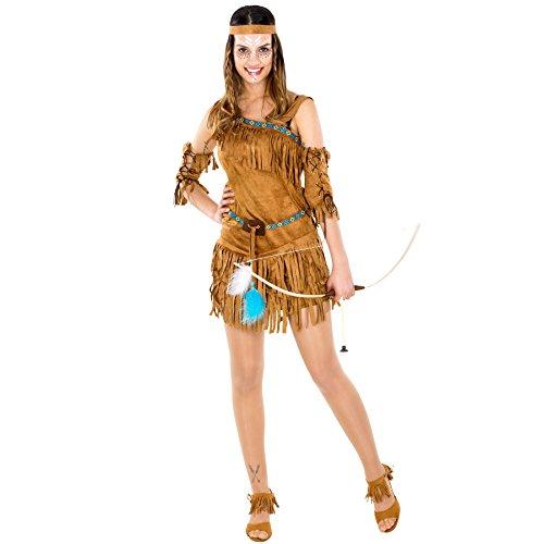 TecTake Damenkostüm sexy Indianerin | Kleid + wundervolles Haarband und Oberarmstulpen (S | Nr. 300549)