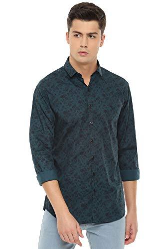 Van Heusen Men's Floral Slim fit Casual Shirt (VDSFESLF822882_Green 44)