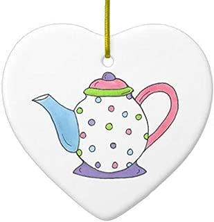 Vehfa Decorations Personalized Ornament Pink Purple Polka Dot Teapot Tea Pot Personalized Ceramic Ornament