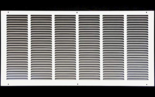 30'w X 12'h Steel Return Air Grilles - Sidewall and Ceiling - HVAC Duct Cover - White [Outer Dimensions: 31.75'w X 13.75'h]