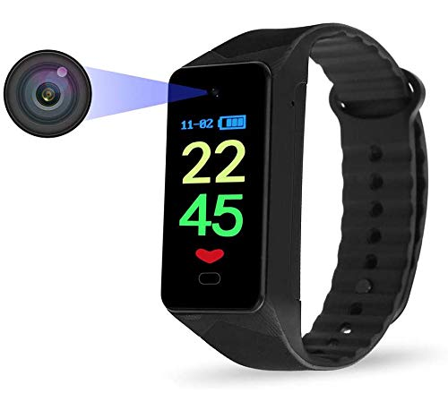 Watch Camera 1080P Wearable Camera Watch 32GB, Wristband Sports Camera Rechargeable Bracelet Camera- Time Display- 32G Memory
