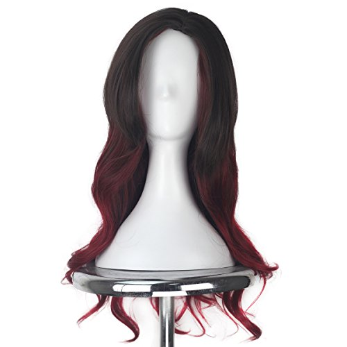 Girl Prestyled Halloween Long Wavy Ombre Brown Red Hair Party Movie Cosplay Costume Wig
