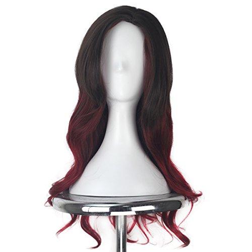 Women's Long Wavy Gradient Brown Dark Red Color Ombre Cosplay Costume Halloween Wig