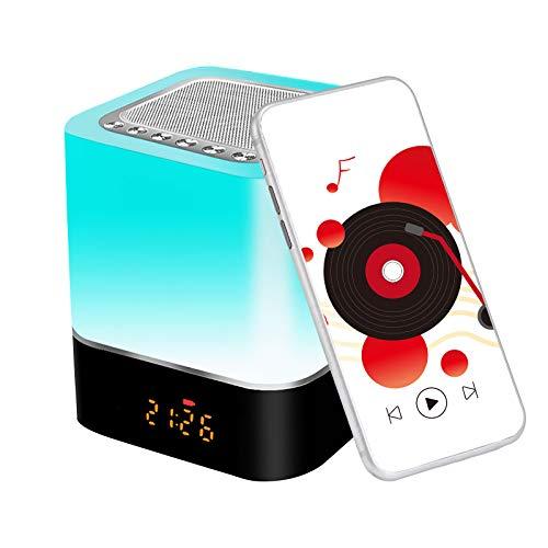 Youool Luz nocturna Lámpara de cabecera 5 en 1 Altavoz Bluetooth Calendario digital Reloj despertador Control táctil 1200 mAh Soporte de batería Tarjeta TF SD Mejor regalo Niños Amigos