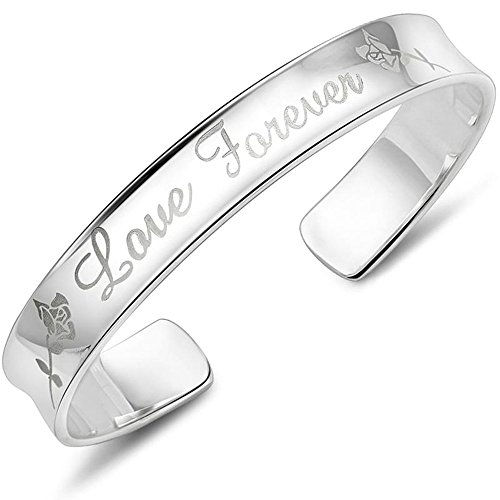 Onefeart Plata esterlina Bangle para Mujer Pulsera para Chicas Love Forever 8x55MM Estilo Nacional Chino