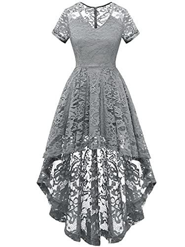 MUADRESS 6066 Women's Vintage Cocktail Dress Floral Lace V Neck Hi-Lo Party Dress Grey Large