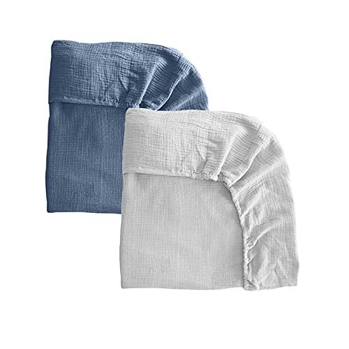 Pack 2 sábanas bajeras para moisés o capazo de Cochecito, sábanas Ajustables de Muselina Recambio Bajera Carrito bebé. Vestiduras moisés. Mimuselina (Blanco-Azul)