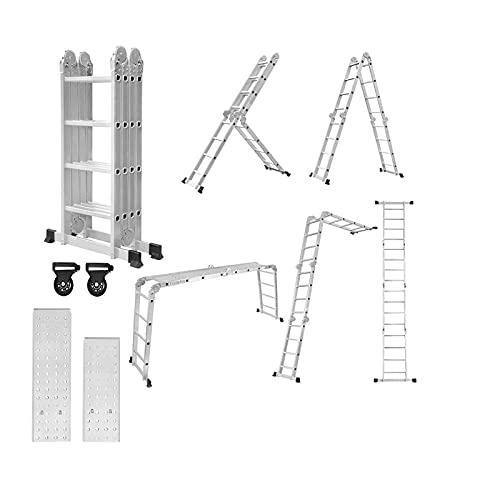 HENGMEI Escalera multiusos de aluminio con plataforma de 4,7 m, plegable, plegable, para uso doméstico, hasta 150 kg, 16 peldaños con 2 placas de andamio