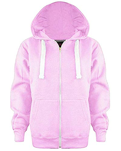Kids Girls Boys Unisex Plain Fleece Hoodie Zip Up Style Zipper Age 5 13 Years 7 8 Years Baby Pink