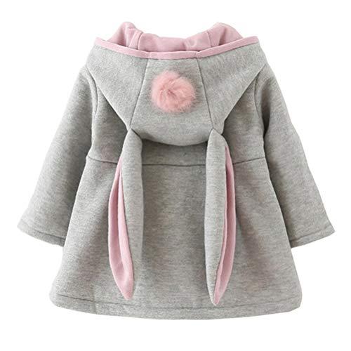 EDOTON Baby Mädchen Mäntel aus Baumwolle Frühlung Herbst Winter Jacken mit Haarballen Kaninchen Ohr Kleinkinder warm Kleidung (9-12 Monate, Grau)