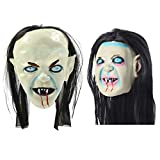 TOYANDONA 2Pcs Halloween Latex Face Cover Cosplay Sadako Zombie Scary Face Cover for Masquerade Party Costume Horror Prop Haunted House(White Black)