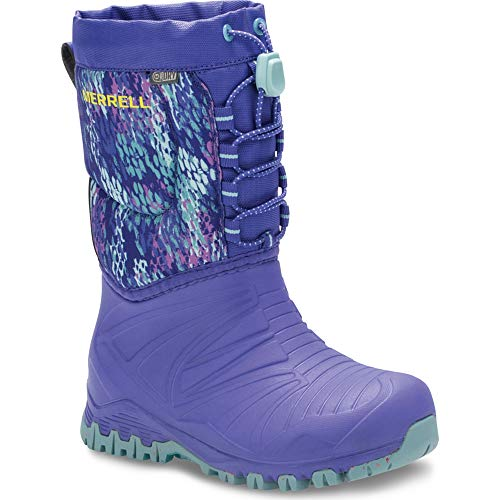Merrell Girls' Snow Quest Lite WTRPF Boot, Purple/Print, 8 Medium US Toddler