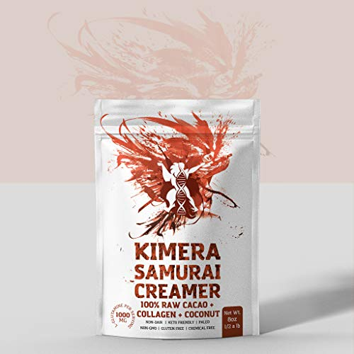 KIMERA SAMURAI Coconut Creamer for Coffee - Organic 100% Raw Cacao + Collagen for Youthful Skin - Superfood Creamer - Keto and Paleo Friendly - Healthy Coffee Creamer 8oz Pack