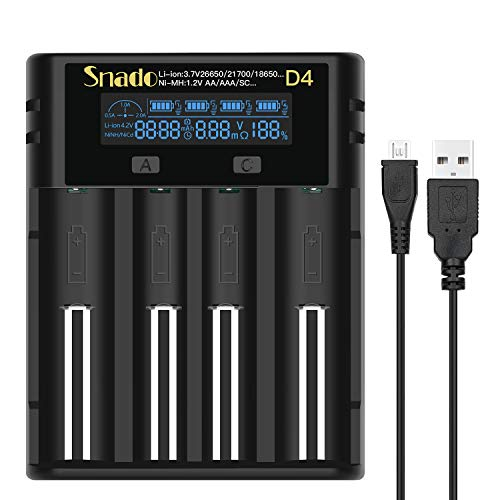 Snado Akku Ladegerät Universal, LCD Smart Batterie Ladegerät für NI-MH NI-CD AA AAA Li-Ion LiFePO4 IMR 18650 18500 18350 17670 17500 16340 14500 10440 RCR123 26650 RCR Batterie