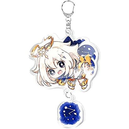 ZLXH Genshin Impact Keychain, Genshin Impact Pendants Anime Cartoon Key Rings Accessory Kit for Game Anime Lovers