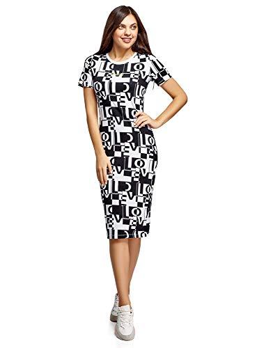 oodji Ultra Damen Bedrucktes Kleid mit Kurzen Ärmeln, Weiß, DE 38 / EU 40 / M