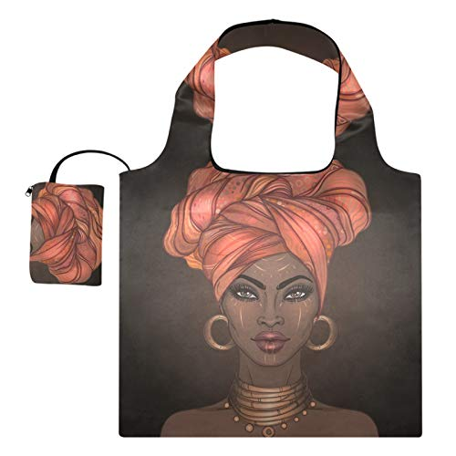 Bolsas de compras reutilizables – Bolsas de tela reutilizables de estilo afroamericano Pretty Girl plegable grande y duradera con bolsa