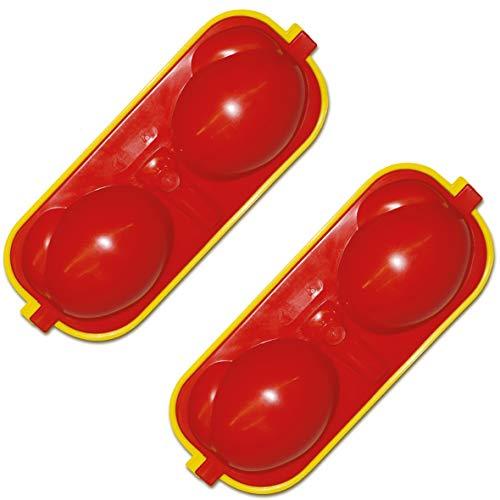 Maulwurfshop 2 x Eierbehälter Eierträger 2-Fach mit Salzstreuer & Löffel rot/gelb