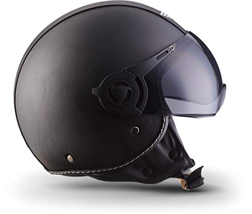 Moto Helmets H44 Leather Black · Cruiser Bobber Vintage Vespa-Helm Biker Chopper Retro Mofa Moto Helmetsrrad-Helm Jet-Helm Helmet Pilot Scooter-Helm Roller-Helm · ECE zertifiziert · inkl. Sonnenvisier · inkl. Stofftragetasche · Grau · XL (61-62cm) - 8