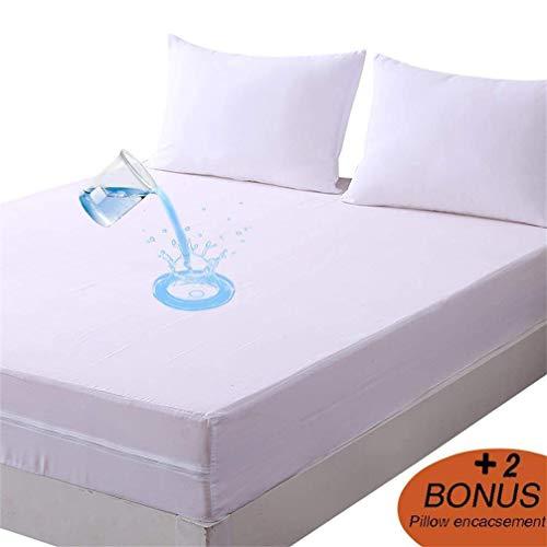 DOWNCOOL Zippered Waterproof Mattress Encasement Cover- Include 2 Bonus Pillowcase- Breathable Six...