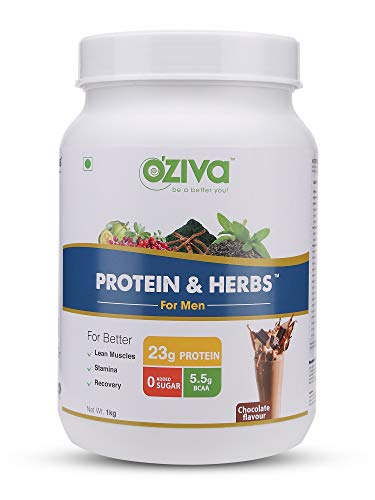 OZiva Protein & Herbs For Men, Chocolate, 1kg- 31 Servings, 0g added Sugar