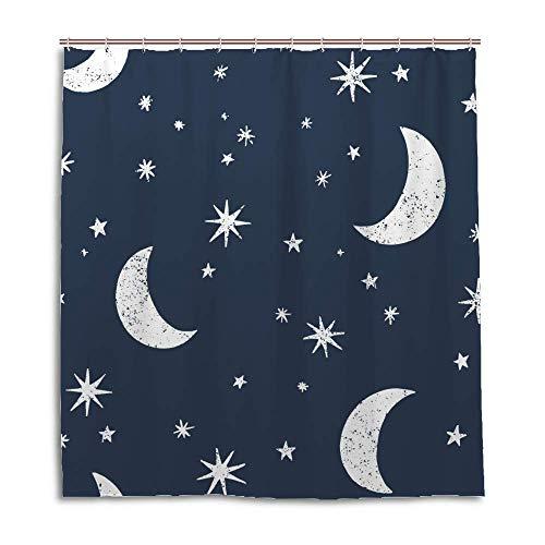 Cortina para box de banheiro, decoração de banheiro, impermeável, sem costura, lua, estrelas, céu noturno, lavável na máquina, 152,4 x 182,8 cm