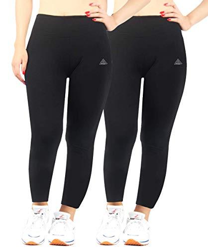 Mesdames Sport Leggings Yoga Opaque Traininggshose Coton Taille du Mode Chic 4452 Pantalons De Survêtement De Vêtements De Mode (Color : Lang Schwarz X2, One Size : 48-50)