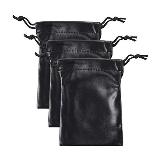 CHICTRY Unisex PU Leather 3Pcs Drawstring Bag Purses Cosmetic Makeup Sundries Storage Pouch Black XXXL