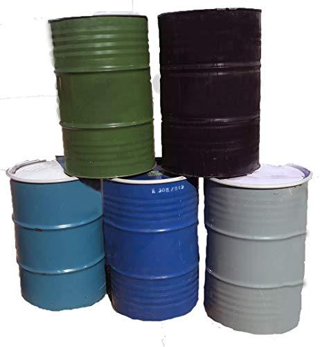 One 55 Gallon Used/Reconditioned Steel Trash Barrel | Burn Drum | Utility Storage | Refuse Composting Barrel | Random Color